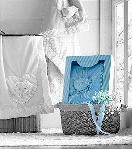 Edredom Infantil Baby Bordado com Aplique Ursinho Azul Jolitex 75x100cm