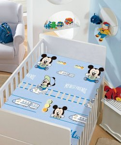 Manta Soft Disney Infantil Mickey Azul Estampas Jolitex 90x110cm