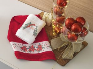 Jogo 2 Toalhas de Lavabo Karsten Encanto do Natal Vermelho e Branco 33x50cm