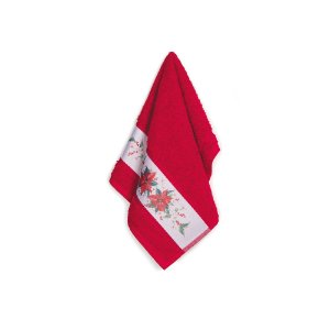 Toalha de Lavabo Magia do Natal Karsten Avulso Vermelha 33x50cm