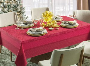 Toalha de Mesa Redonda Karsten Natal Clássica Vermelha 160x0cm 4 lugares