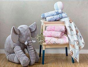 Manta Soft Bebe Menino Azul Elefante 80x110cm Camesa