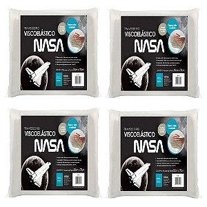Kit 4 peças Travesseiro NASA Visco Fibrasca p/fronha 50x70cm