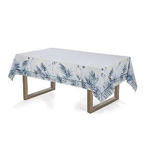 Toalha de Mesa Retangular Zaida 160x220cm 6 lugares Karsten Branco e Azul