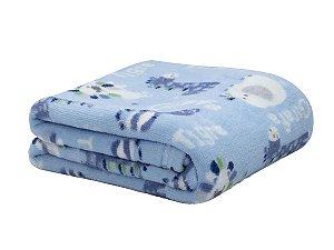Manta para Bebê Safari Azul Infantil Microfibra Camesa 80x110cm