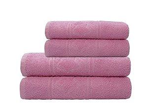 Toalha de Rosto Infantil Happy Coração Rosa Camesa 45x70cm 100% Algodão