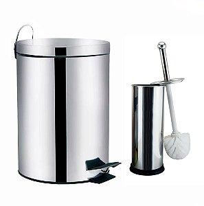 Kit Lixeira Inox 5 Litros + Escova Sanitária Inox