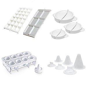 Kit de Forma de Salgados, Coxinhas, Pastéis, e Raviolis