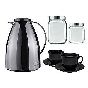 Kit de Cafe Bule + Xicaras e Potes Para Biscoito