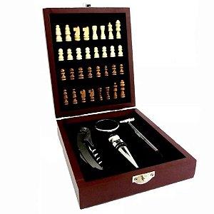 Kit de Vinho com Jogo de Xadrez 5 peças