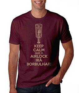 Camiseta Cervejeiro Caseiro - Keep Calm que o Airlock Irá Borbulhar - Cor Roxa