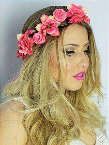 Tiara de Flores Manga Rosa