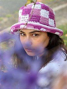 Bucket Hat de Crochê Quadriculado Lilás
