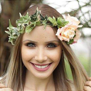 Tiara de Flores e Suculentas Ivy