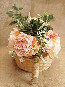 Buquê de Flores Noiva Suculenta Mel