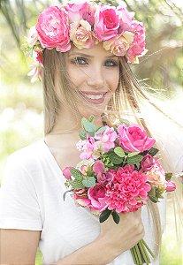 Kit Noiva: Tiara de Flores + Buquê Freya
