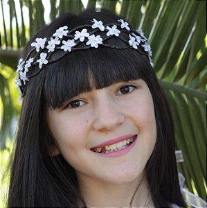 Tiara de Flores Infantil Branca Tressê