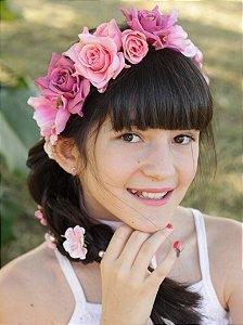 Tiara de Flores Infantil Celebração Rosa