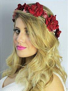 Tiara de Flores Ganesha Bordô