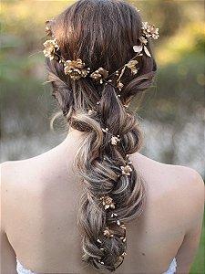 Fio para Cabelo com Flores Douradas