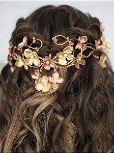 Arranjo de Cabelo Flores Ouro e Rosé