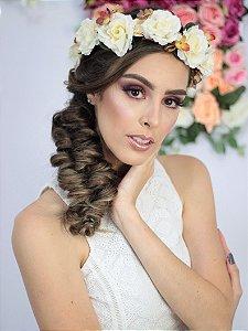 Tiara de Flores Florenza Creme