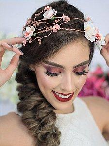 Tiara de Flores Dupla Rosé Gold