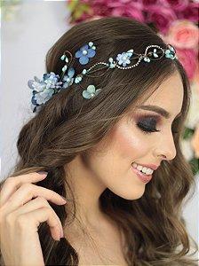 Coroa de Flores Brilho Azul