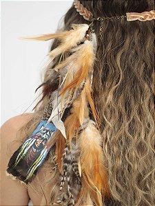 Headband de Penas Caramelo Cacique
