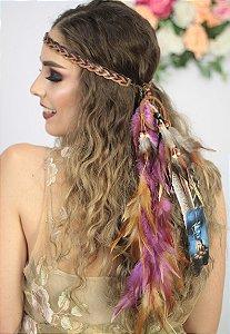 Headband de Penas Lilás Cacique