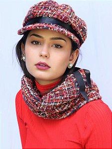 Boina Quepe Tweed Candice Vermelho
