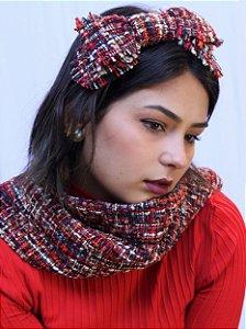 Tiara Laço Tweed Vermelho