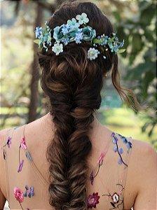 Arranjo de Cabelo Flores Romance Azul