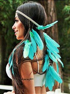 Headband de Penas Azul Água