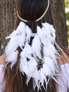 Headband de Penas Branco