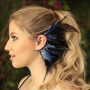 Ear Cuff Penas Azul Petróleo
