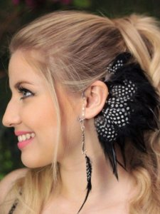 Ear Cuff Penas Angola Black