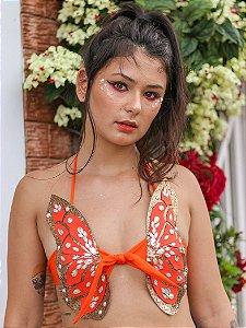Top Borboleta Thayla Dourado
