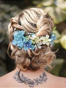 Arranjo de Cabelo Flores Ananda Azul