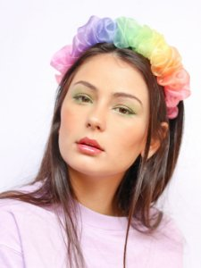 Tiara Scrunchie Organza Rainbow