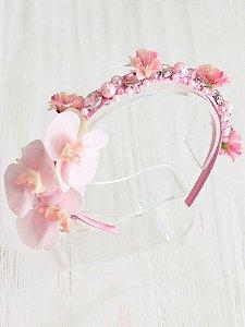 Tiara Infantil Flores Mini Orquídeas