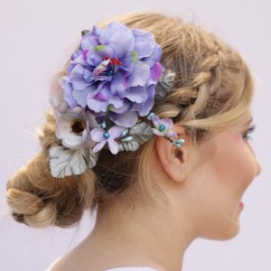 Presilha de Flores Azul Anil