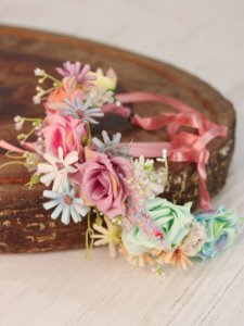 Tiara de Flores Infantil  Borboleta Arco-íris