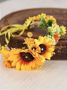 Tiara de Flores Infantil Girassol