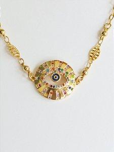 Choker Medalha Olho Grego Cravejado Micro Zircônias Semijóia Banhada Ouro Visão