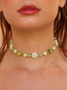 Choker Estrela Pedra Natural Ágata Verde