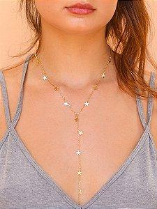 Colar Gravatinha Estrelas Banhado Ouro 18k