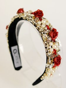 Tiara Bordada Pedrarias e Flores Roseira
