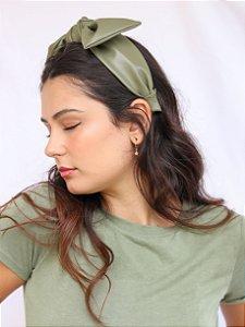 Tiara Laço Couro Verde Oliva