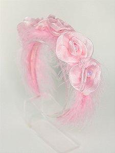 Tiara Infantil Flores Rosa Organza